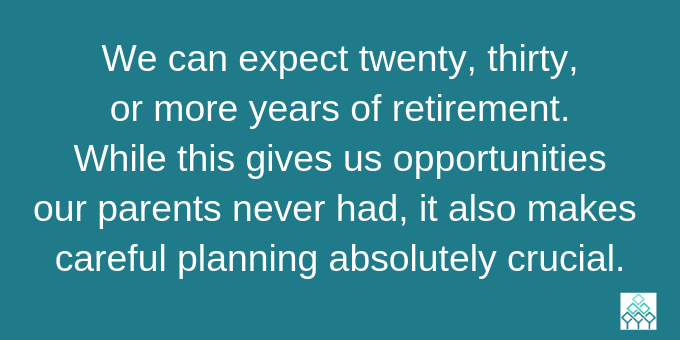 Many years of retirement call for careful planning.
